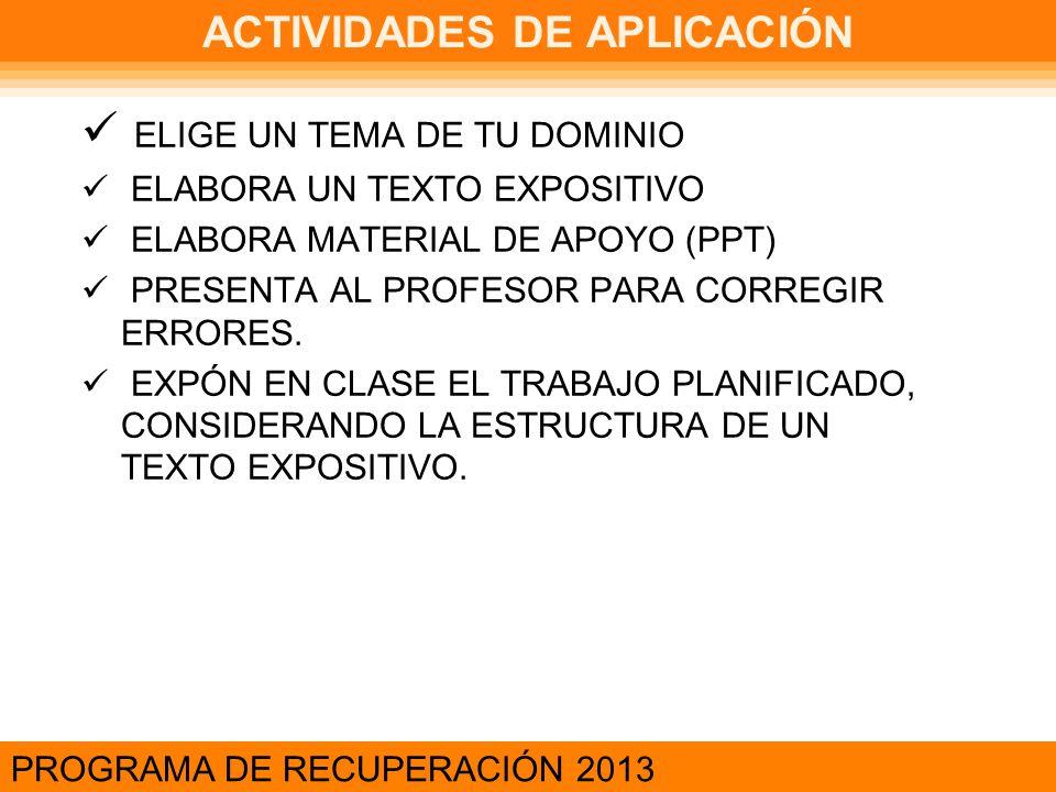 ACTIVIDADES DE APLICACIÓN