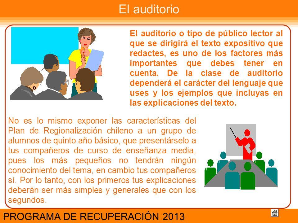 El auditorio PROGRAMA DE RECUPERACIÓN 2013