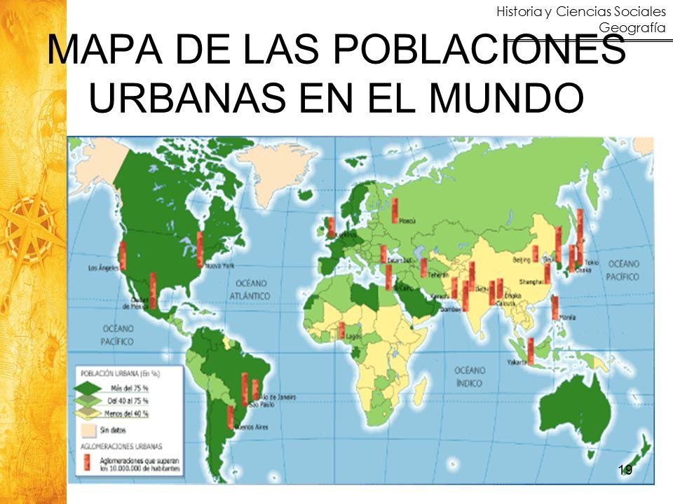 MAPA DE LAS POBLACIONES URBANAS EN EL MUNDO