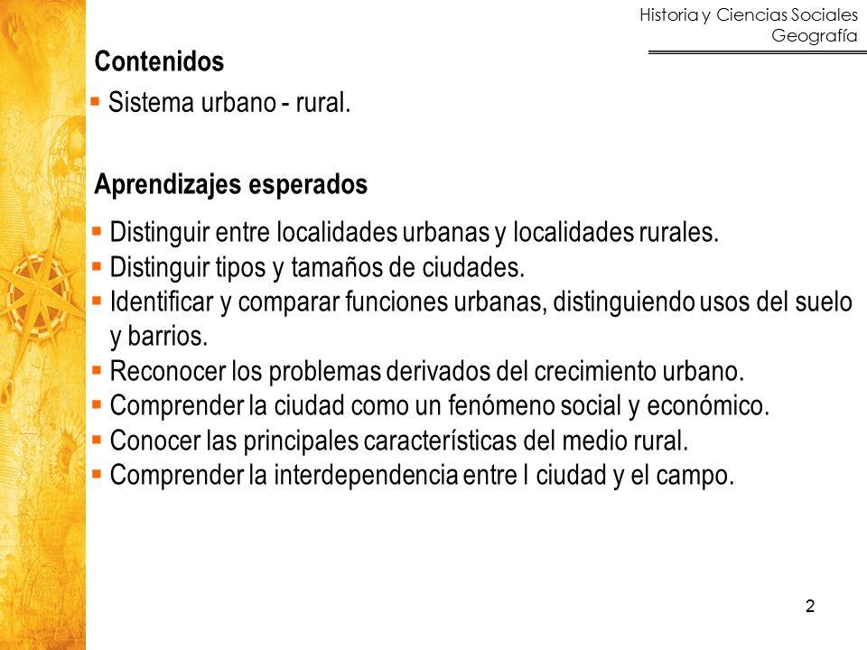 Contenidos Sistema urbano - rural. Aprendizajes esperados. Distinguir entre localidades urbanas y localidades rurales.