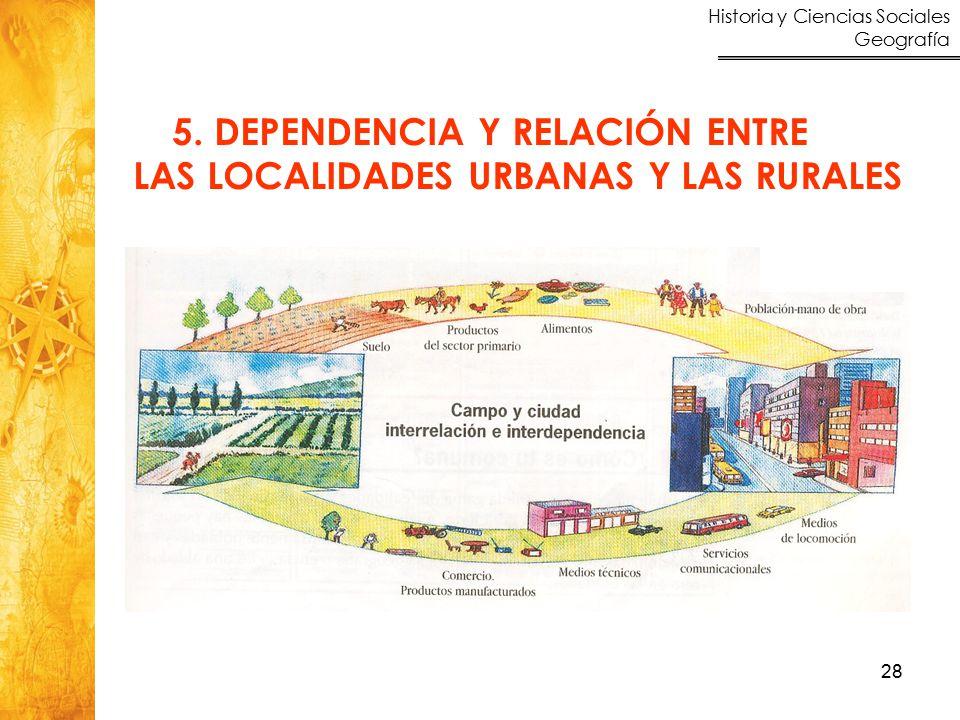 5. DEPENDENCIA Y RELACIÓN ENTRE LAS LOCALIDADES URBANAS Y LAS RURALES