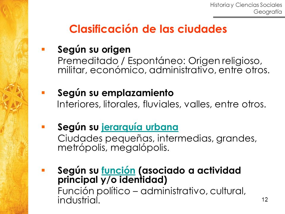 Clasificación de las ciudades