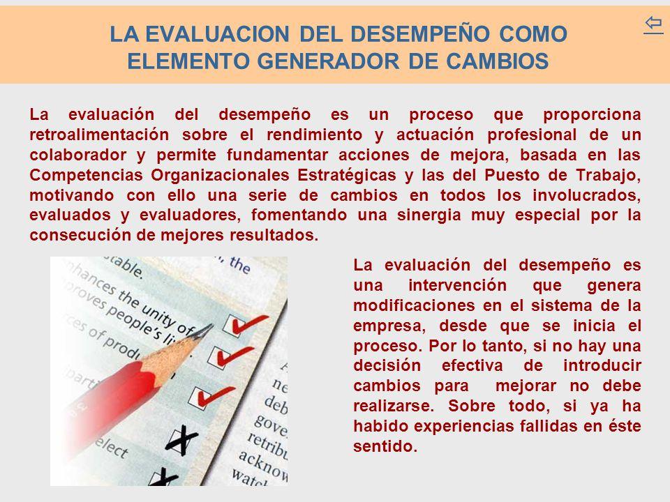 LA EVALUACION DEL DESEMPEÑO COMO ELEMENTO GENERADOR DE CAMBIOS