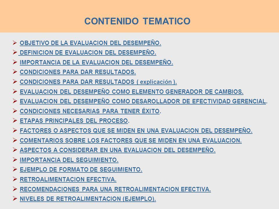 CONTENIDO TEMATICO DEFINICION DE EVALUACION DEL DESEMPEÑO.