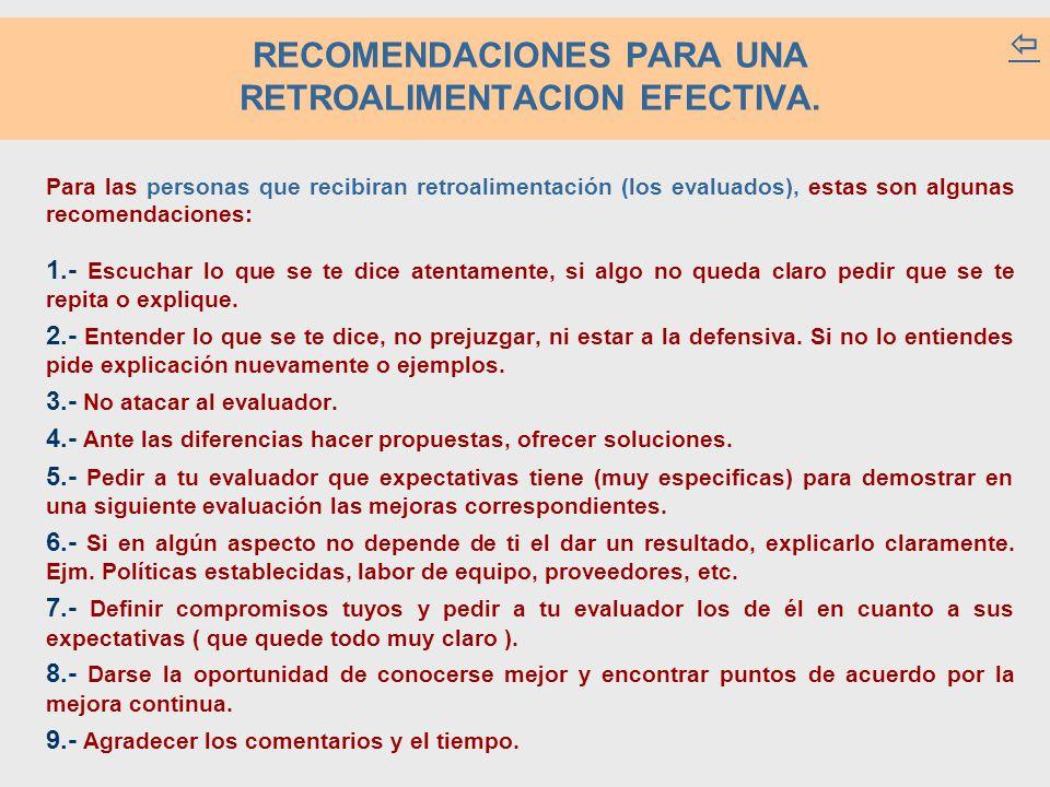 RECOMENDACIONES PARA UNA RETROALIMENTACION EFECTIVA.