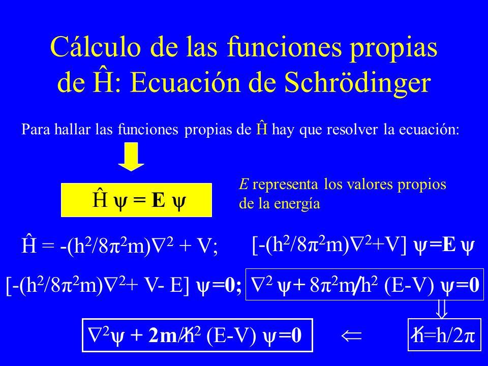 Cálculo de las funciones propias de Ĥ: Ecuación de Schrödinger