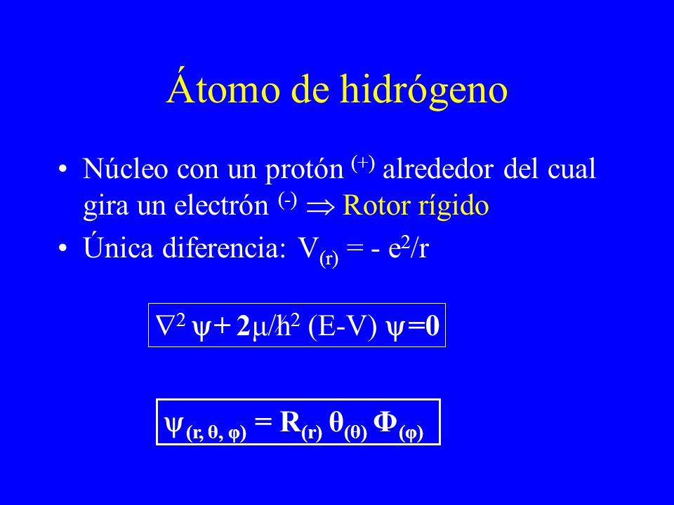 Átomo de hidrógenoNúcleo con un protón (+) alrededor del cual gira un electrón (-)  Rotor rígido. Única diferencia: V(r) = - e2/r.