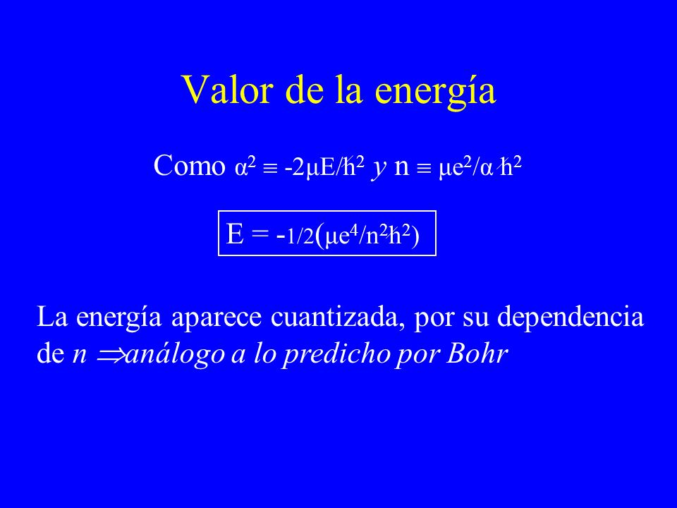 Valor de la energía Como α2  -2μE/h2 y n  μe2/α h2