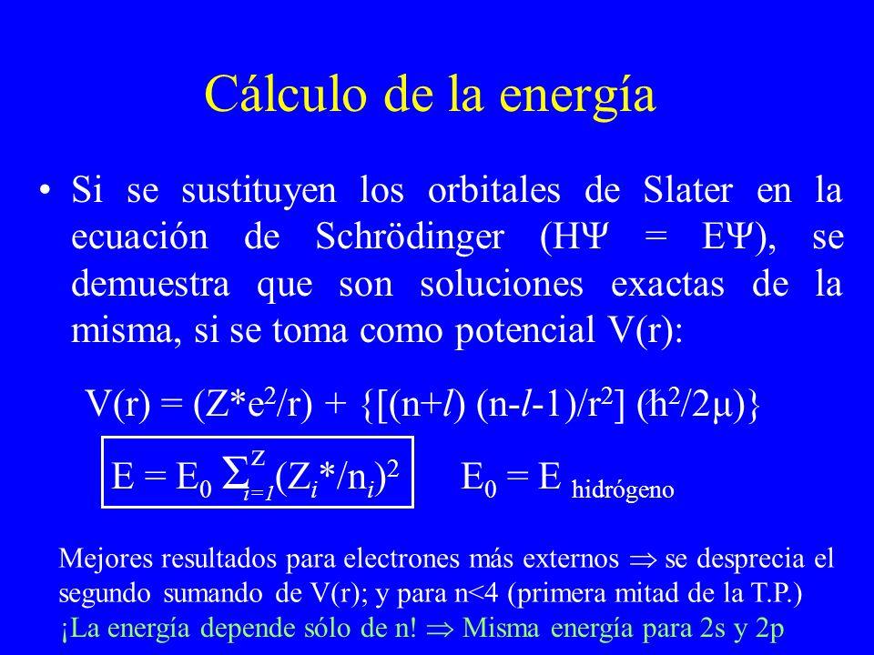 Cálculo de la energía