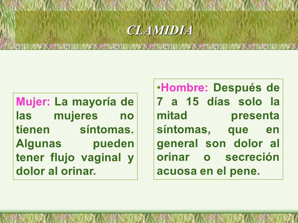 CLAMIDIA Hombre: Después de 7 a 15 días solo la mitad presenta síntomas, que en general son dolor al orinar o secreción acuosa en el pene.
