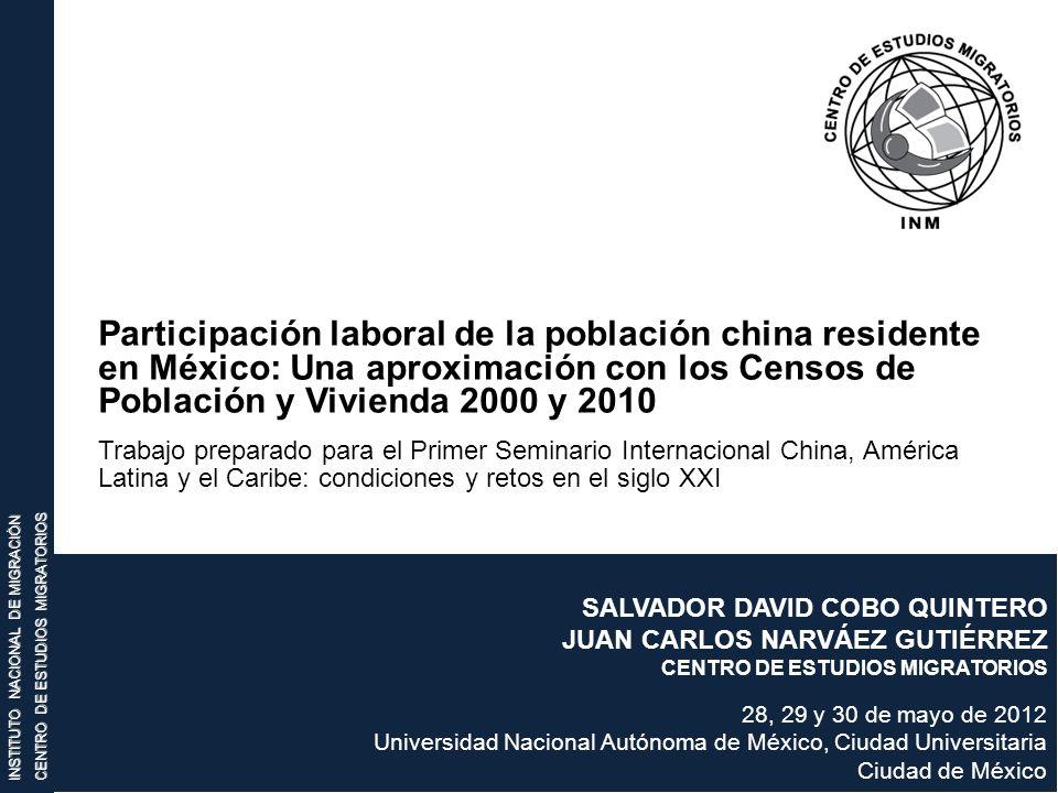 Participación laboral de la población china residente en México: Una aproximación con los Censos de Población y Vivienda 2000 y 2010.