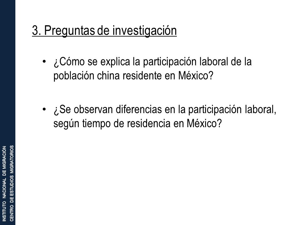 3. Preguntas de investigación