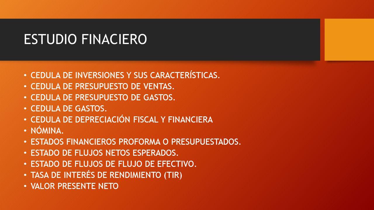 ESTUDIO FINACIERO CEDULA DE INVERSIONES Y SUS CARACTERÍSTICAS.