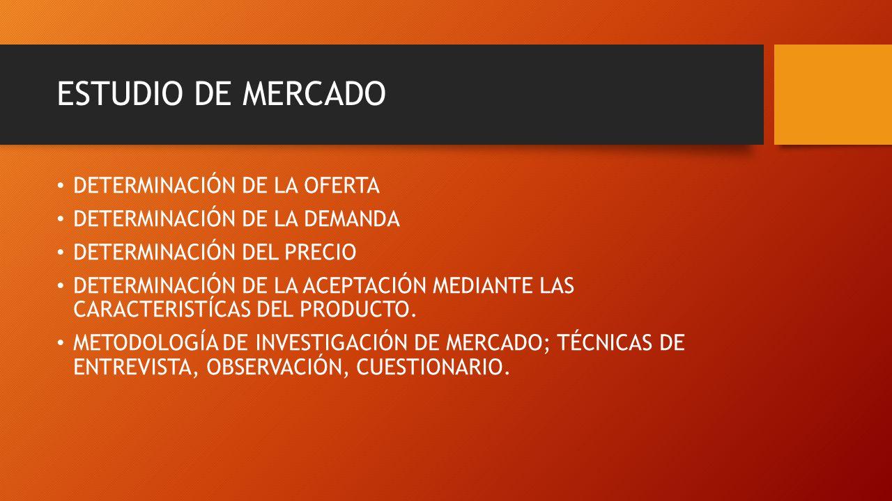 ESTUDIO DE MERCADO DETERMINACIÓN DE LA OFERTA