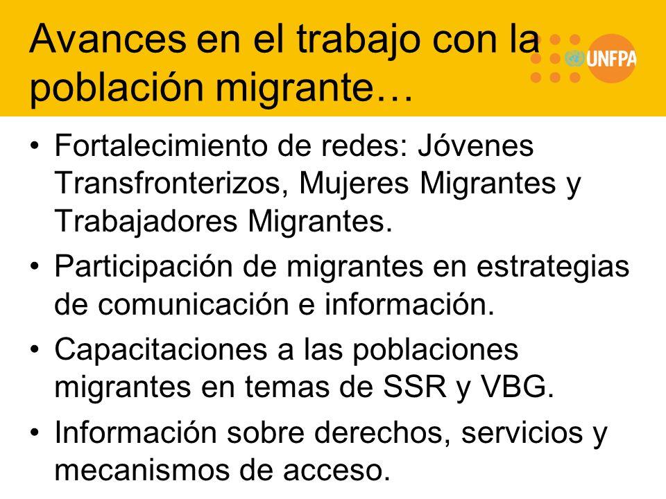 Avances en el trabajo con la población migrante…