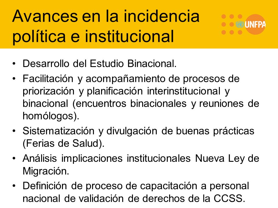 Avances en la incidencia política e institucional