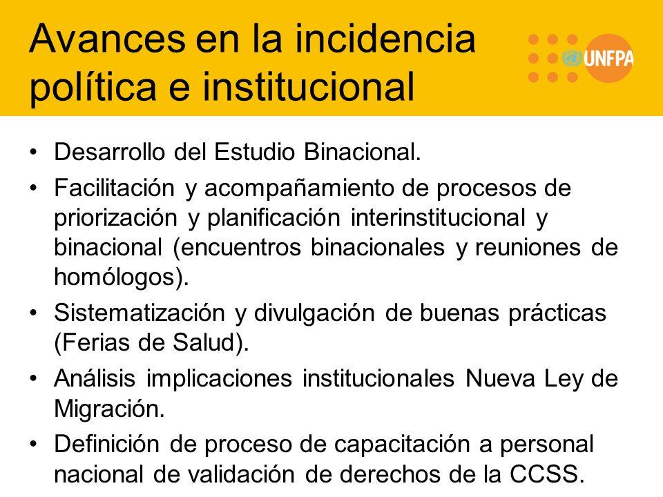 Avances en la incidencia política e institucional
