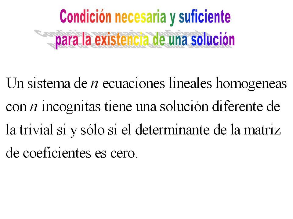 Condición necesaria y suficiente para la existencia de una solución