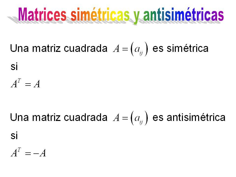 Matrices simétricas y antisimétricas