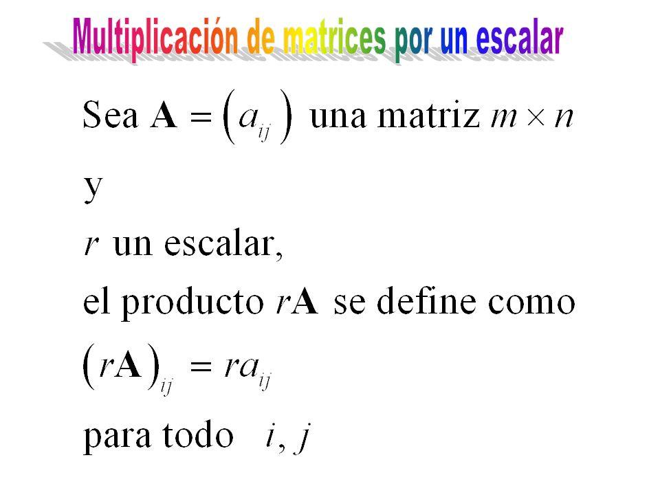 Multiplicación de matrices por un escalar