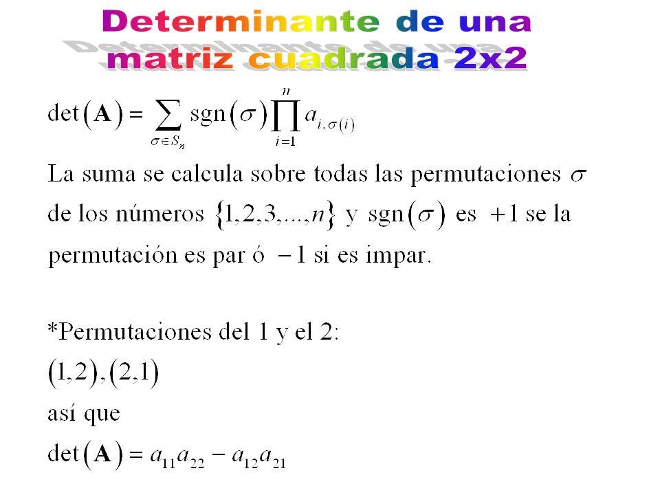 Determinante de una matriz cuadrada 2x2