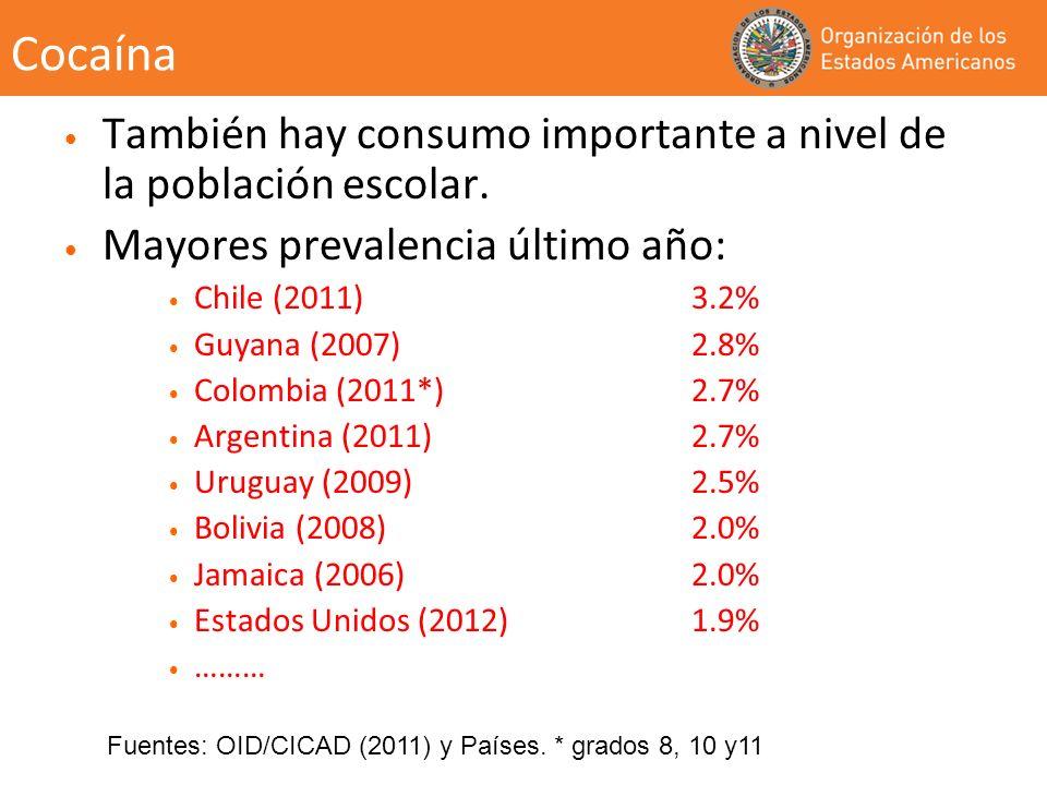 Cocaína También hay consumo importante a nivel de la población escolar. Mayores prevalencia último año: