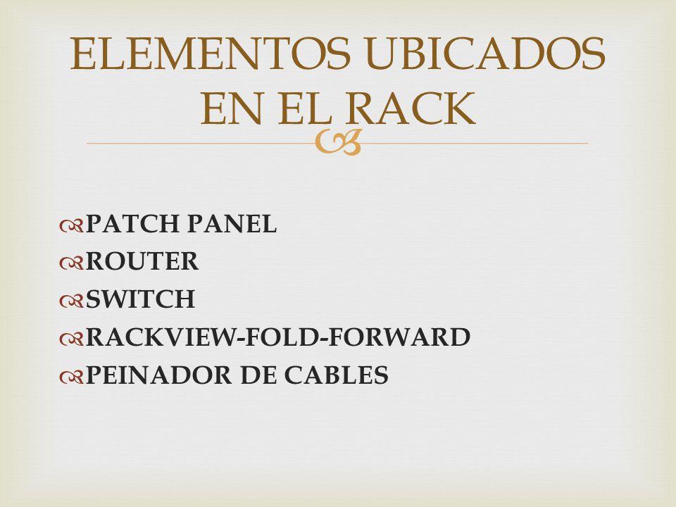 ELEMENTOS UBICADOS EN EL RACK
