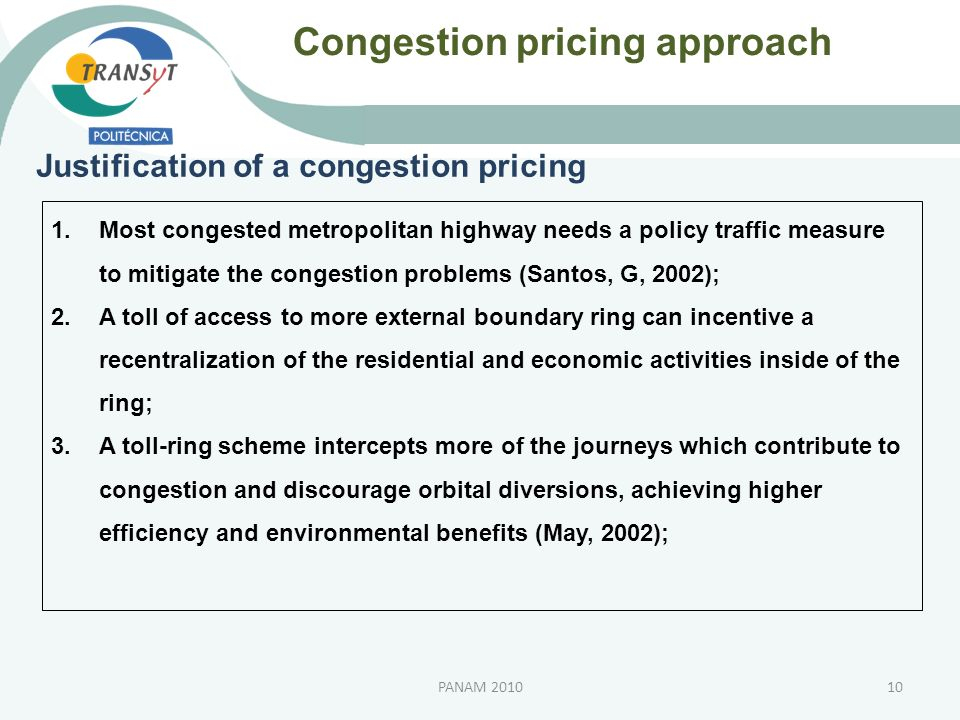 Congestion pricing approach