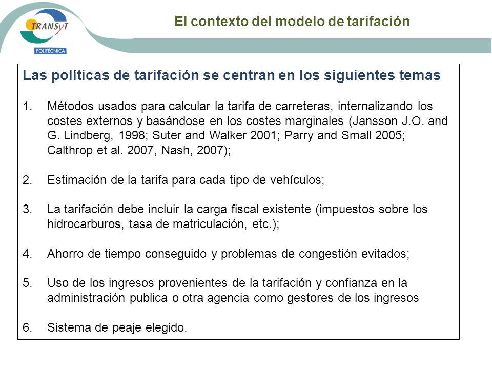 El contexto del modelo de tarifación