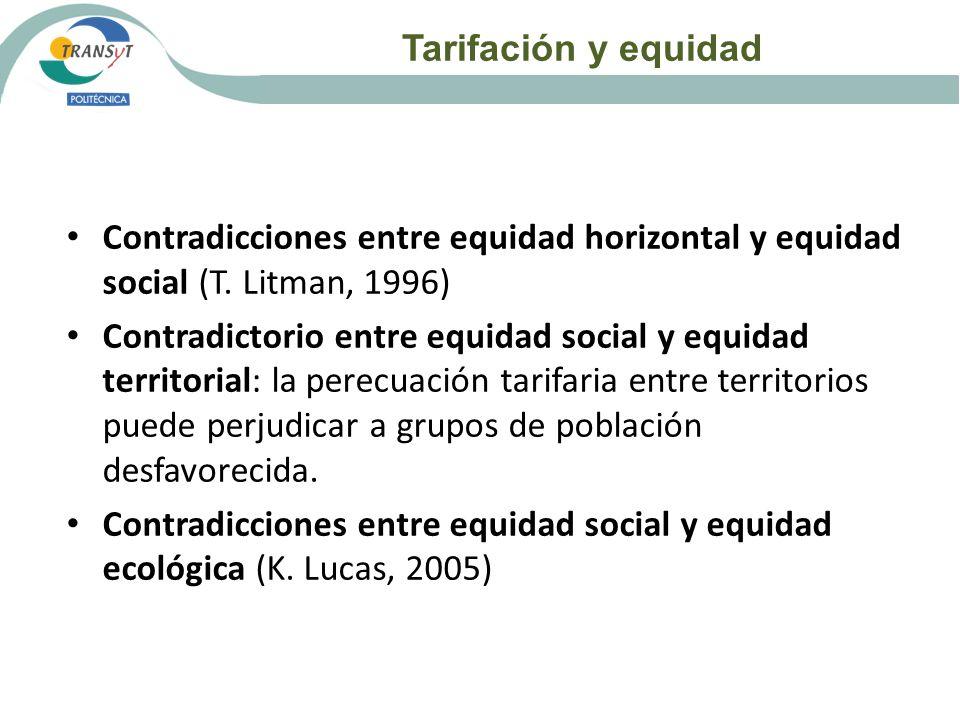 Tarifación y equidad Contradicciones entre equidad horizontal y equidad social (T. Litman, 1996)