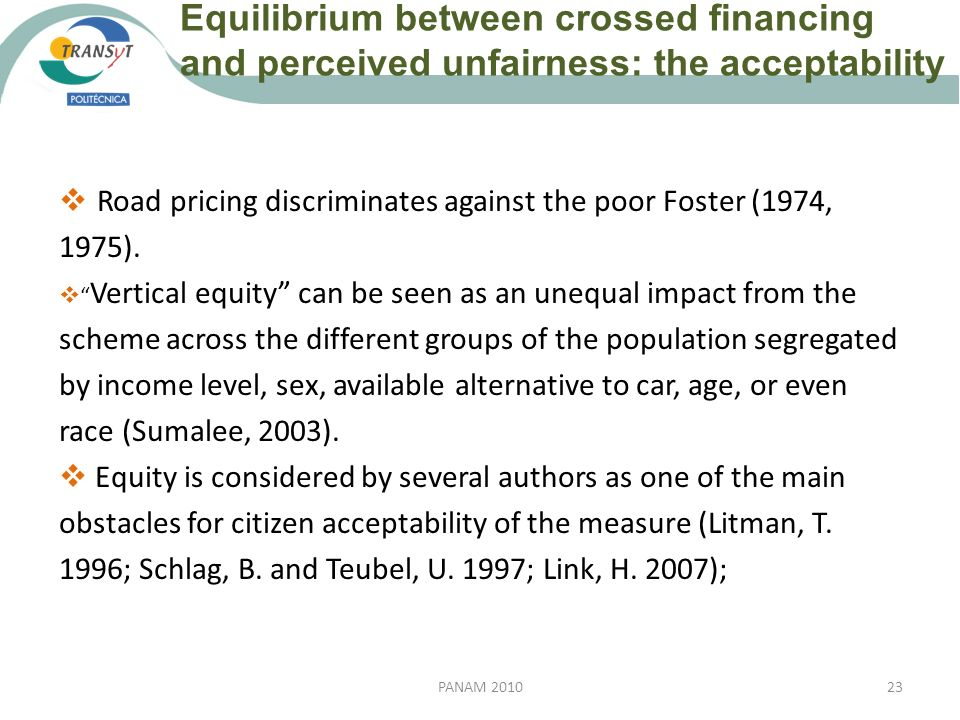 Equilibrium between crossed financing and perceived unfairness: the acceptability