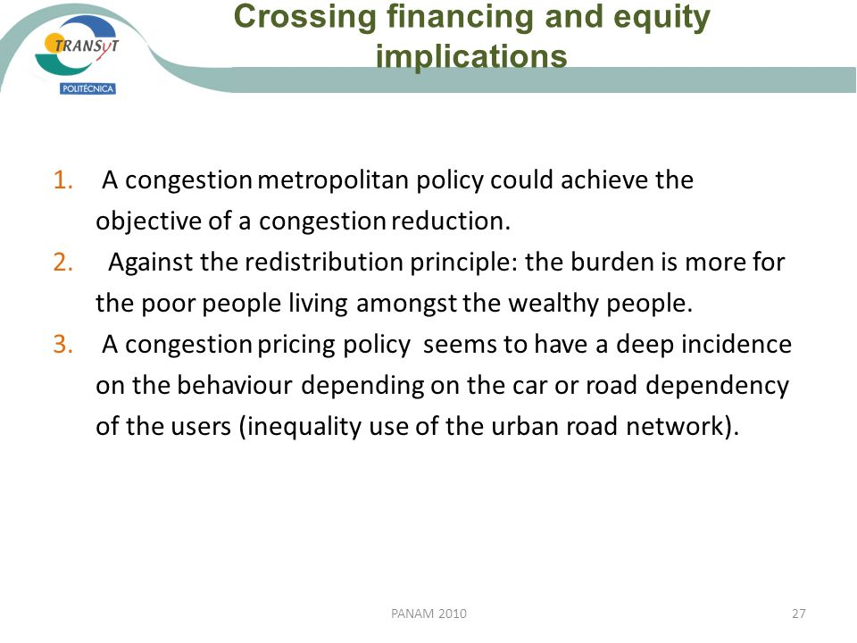 Crossing financing and equity implications