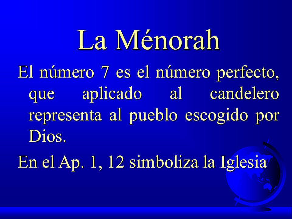 La Ménorah El número 7 es el número perfecto, que aplicado al candelero representa al pueblo escogido por Dios.