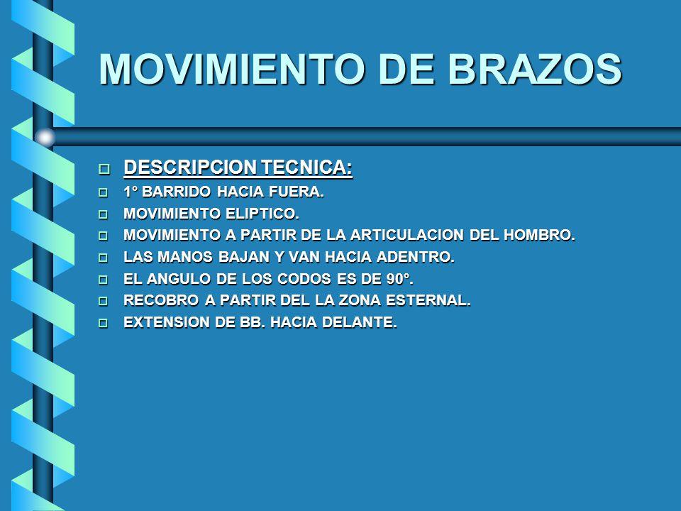 MOVIMIENTO DE BRAZOS DESCRIPCION TECNICA: 1° BARRIDO HACIA FUERA.