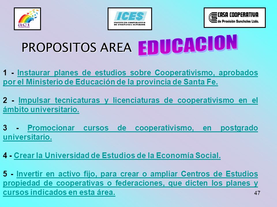 EDUCACION PROPOSITOS AREA