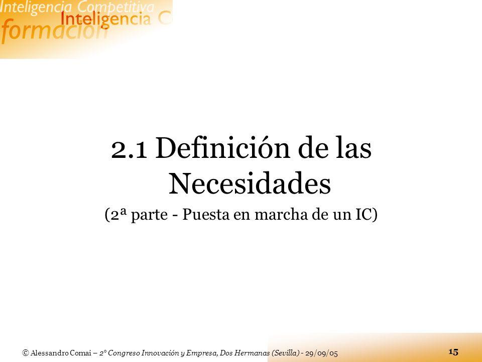 2.1 Definición de las Necesidades