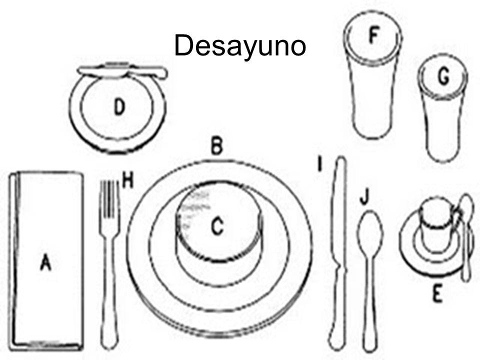 Desayuno A. Servilleta e individual o mantel B. Plato para almuerzo