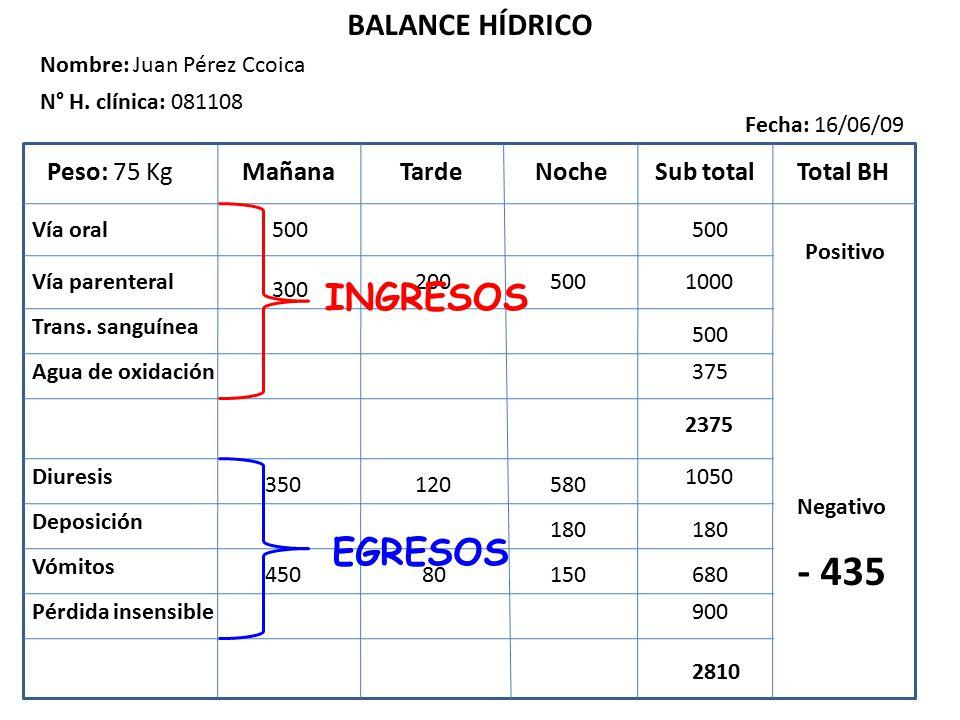 - 435 INGRESOS EGRESOS BALANCE HÍDRICO Peso: 75 Kg Mañana Tarde Noche