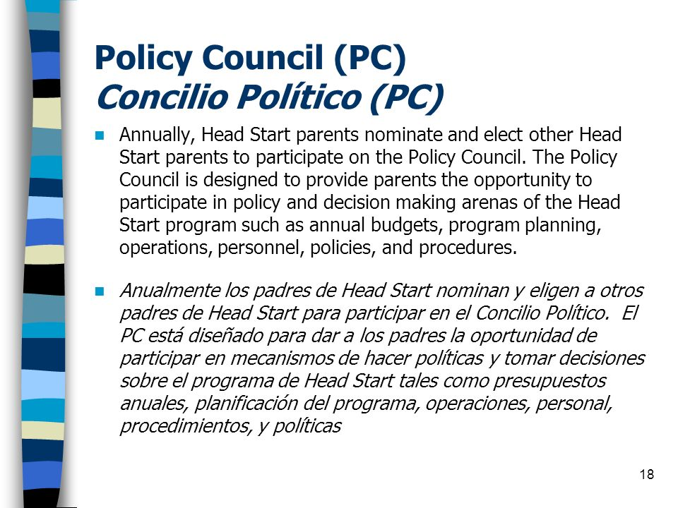 Policy Council (PC) Concilio Político (PC)