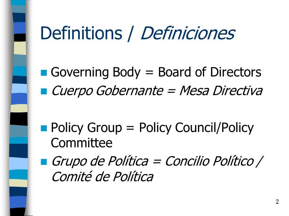 Definitions / Definiciones