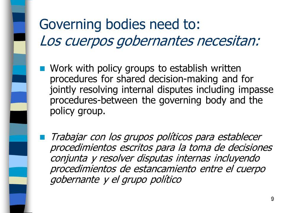 Governing bodies need to: Los cuerpos gobernantes necesitan: