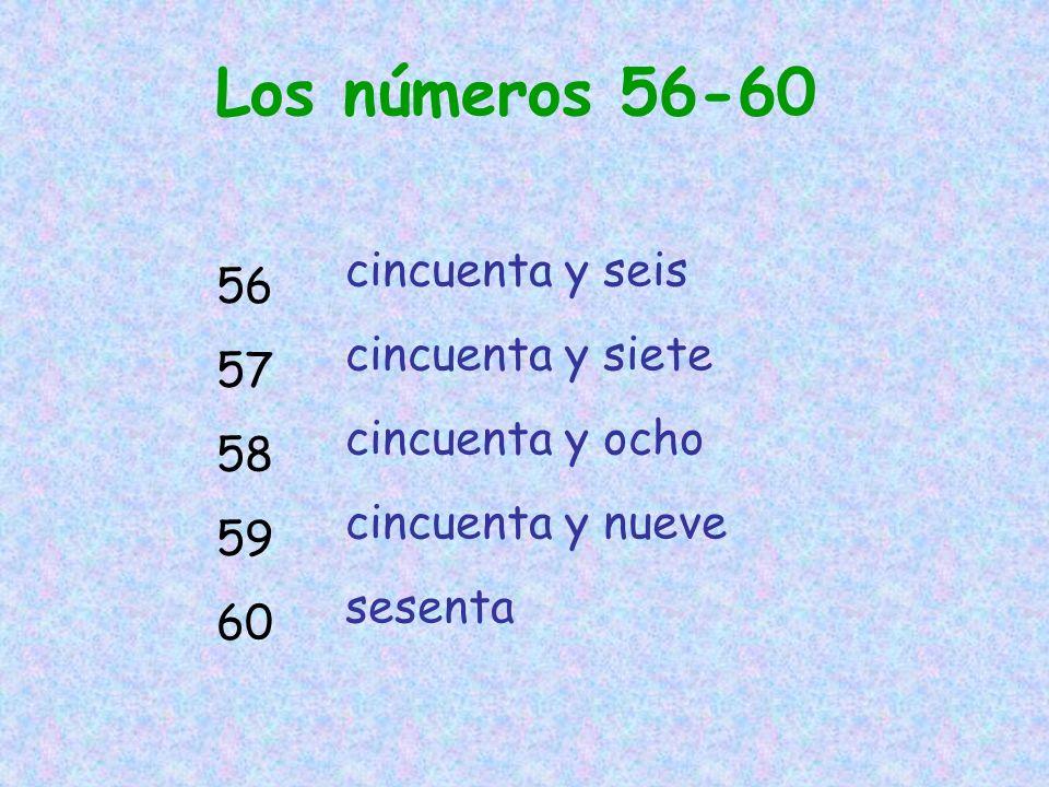 Los números 56-60 cincuenta y seis 56 cincuenta y siete 57