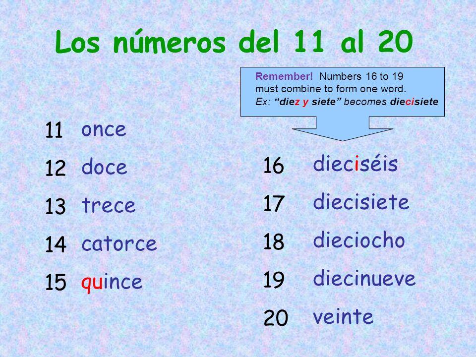 Los números del 11 al 20 11 12 once doce 13 trece 14 dieciséis 16
