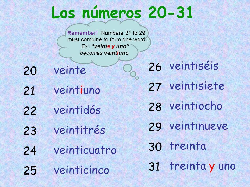 Los números 20-31 veintiséis 26 veinte 20 veintisiete 27 veintiuno 21