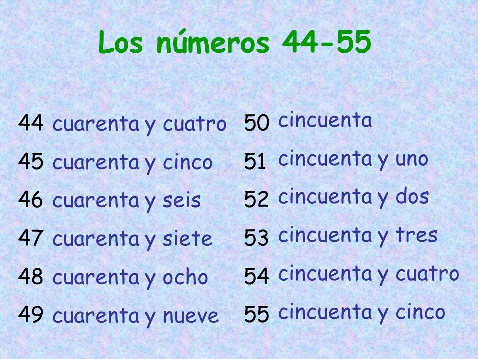 Los números 44-55 cincuenta cincuenta y uno cincuenta y dos