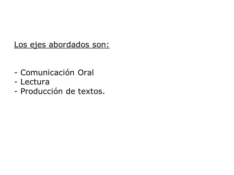 Los ejes abordados son: - Comunicación Oral - Lectura - Producción de textos.