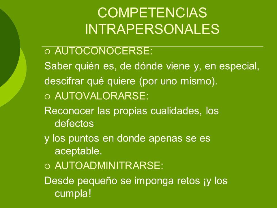 COMPETENCIAS INTRAPERSONALES