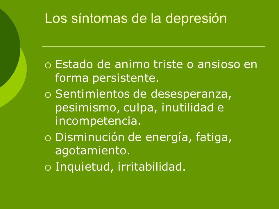 Los síntomas de la depresión
