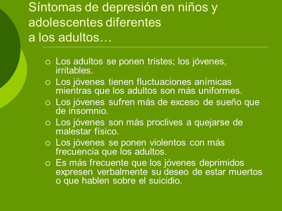 Síntomas de depresión en niños y adolescentes diferentes a los adultos…