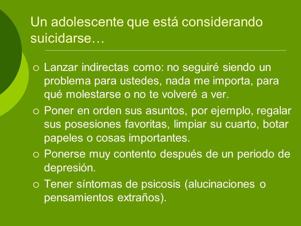 Un adolescente que está considerando suicidarse…